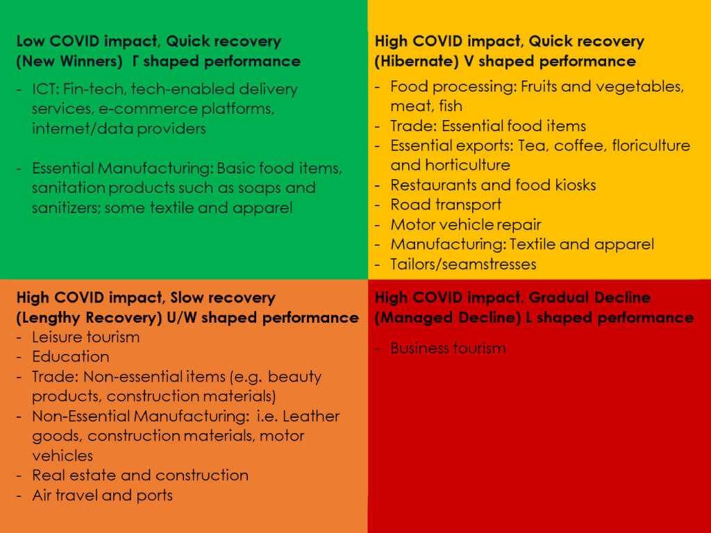 COVID-19 impact-recovery pathways for the economy: Features and implications