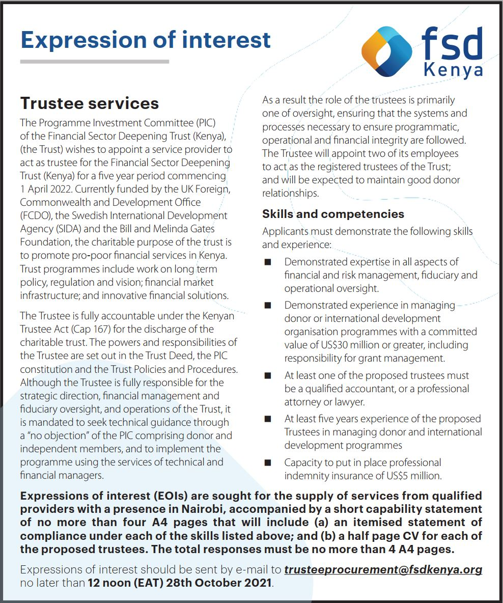 Expression of Interest - Trustee Services